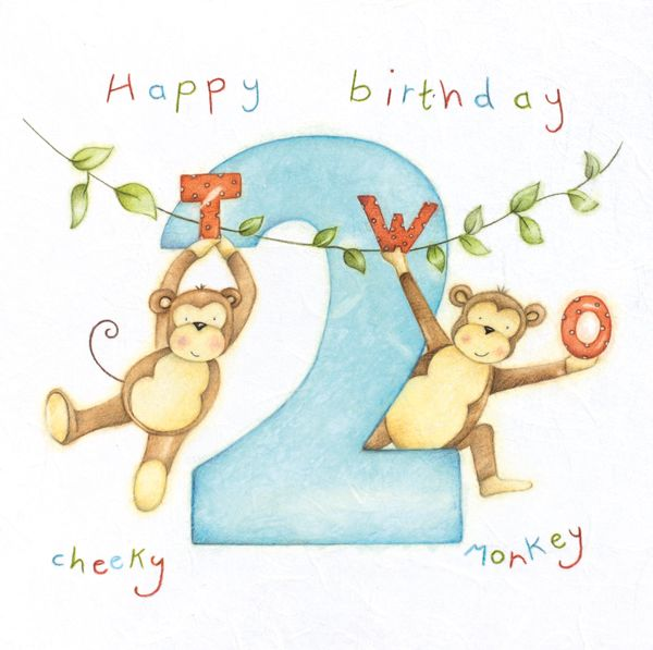 2nd Birthday Card Boy - Happy BIRTHDAY Cheeky MONKEY - CHEEKY Monkey's BIRT