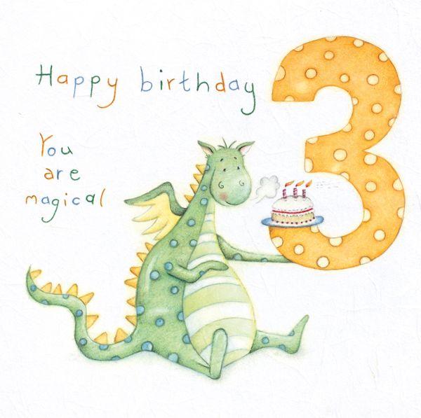 3rd Birthday Cards - Dragon BIRTHDAY Cards - 3rd BIRTHDAY - You are MAGICAL