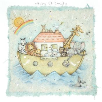 Children's Birthday Card - Adorable NOAH'S ARK Birthday Card - HAPPY Birthday - CUTE Animal Birthday CARD - Birthday Card FOR Daughter - SON - Niece