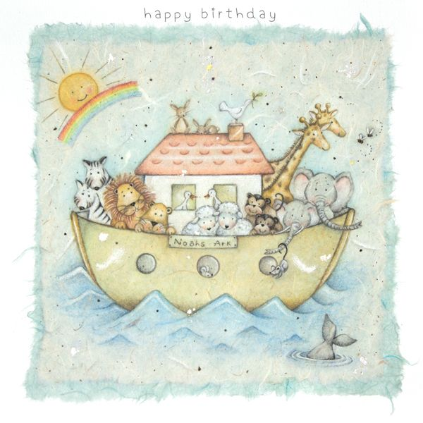 Children's Birthday Card - Adorable NOAH'S ARK Birthday Card - HAPPY Birthd