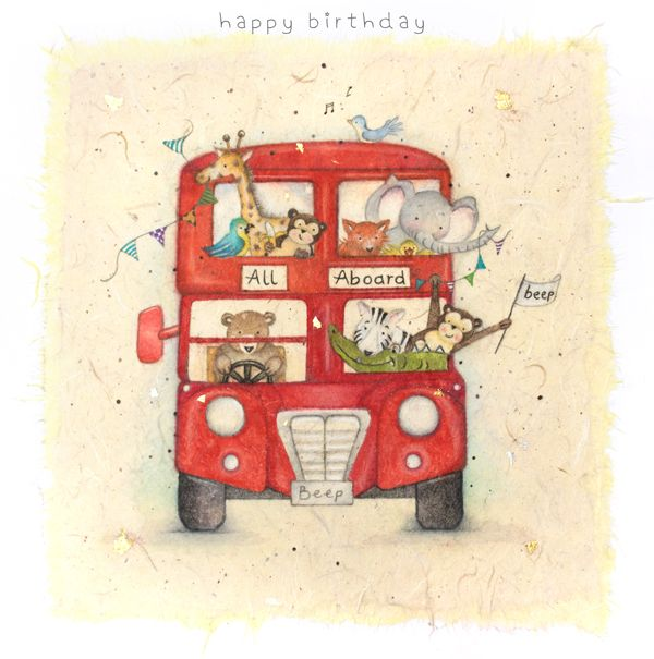 Children's Birthday Card - Zoo Birthday Card - HAPPY Birthday - Animal BUS