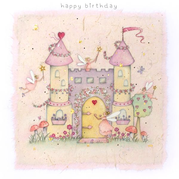 FAIRY CASTLE Birthday Card - Children's Birthday Card - FAIRY Princess Cast