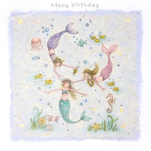 Mermaid Birthday Card Happy Birthday Hand Drawn Childrens Card