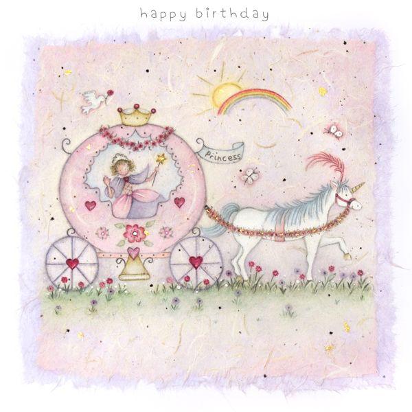 Birthday Card for Girl - HAPPY Birthday PRINCESS - Fairytale Princess Birth