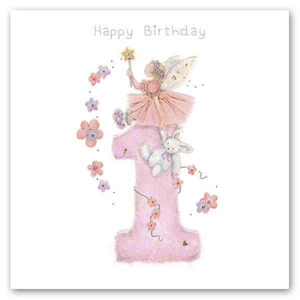 1st Birthday Card For Girl - FAIRY Birthday CARD - Cute 1st BIRTHDAY Card -