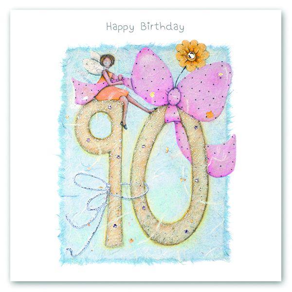 90th Birthday Card - FAIRY Card - HAPPY Birthday - MILESTONE Birthday - PRE