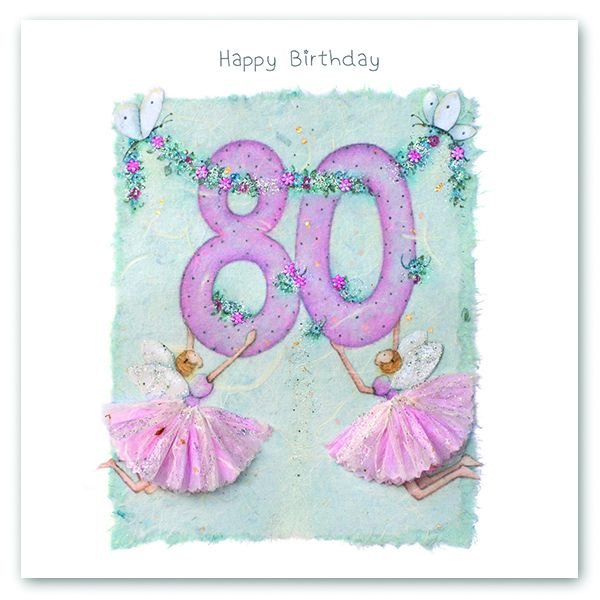 80th Birthday Card - FAIRY Card - HAPPY Birthday - MILESTONE Birthday - PRE