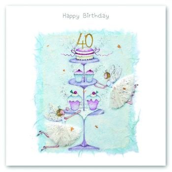 40th Birthday Card - FAIRY Card - HAPPY Birthday - MILESTONE Birthday - PRETTY Female Birthday CARD - Card FOR Daughter - Friend - SISTER - Mum