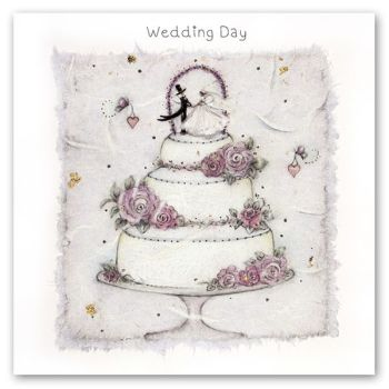 Wedding Cards - WEDDING DAY - Wedding CAKE Wedding Cards - WEDDING DAY Card - Wedding DAY Greeting CARD - Bride & Groom on WEDDING Cake CARD
