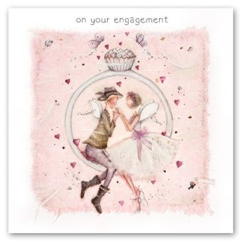 Pretty Engagment Card - ON Your ENGAGEMENT - Engagement Cards - ENGAGEMENT Congratulations CARD - PINK Butterflies & HEARTS Engagement CARD