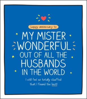 Anniversary Cards For Husband - TOTALLY Chuffed - Husband ANNIVERSARY Cards - FUNNY Anniversary CARDS For HUSBAND - My MISTER Wonderful