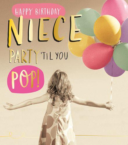 NIECE Birthday Cards - PARTY 'TIL YOU POP - Birthday CARDS for NIECE - BIRT