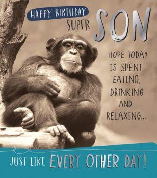 Funny Monkey Son Birthday Card - HAPPY BIRTHDAY SUPER SON - Humorous Card - BIRTHDAY Cards FOR Men - Birthday CARDS For SON