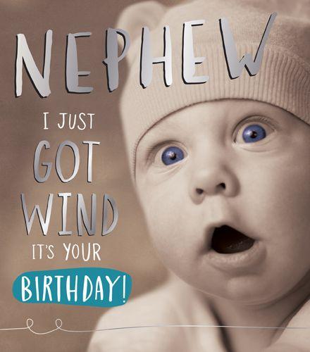 Funny Birthday Cards For Nephew - Nephew BIRTHDAY Cards - JUST Got WIND - F