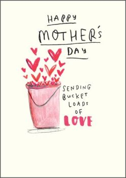 Mother's Day Card - CUTE Mother's DAY Card - HAPPY Mother's Day - SENDING Bucket LOADS Of LOVE - Mothering SUNDAY Card - CARD For MUM