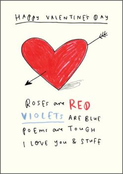 Happy Valentine's Day Card - ROSES are RED Violets Are BLUE - Arrow THROUGH The HEART Valentine's Card - Funny Valentine's CARD FOR Husband - WIFE