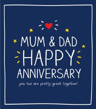 Anniversary Card For Parents - PRETTY Great TOGETHER - ANNIVERSARY Cards - Mum & DAD Anniversary CARDS - Happy ANNIVERSARY Mum & DAD