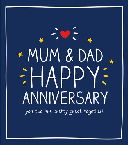 Anniversary Card For Parents - PRETTY Great TOGETHER - ANNIVERSARY Cards -