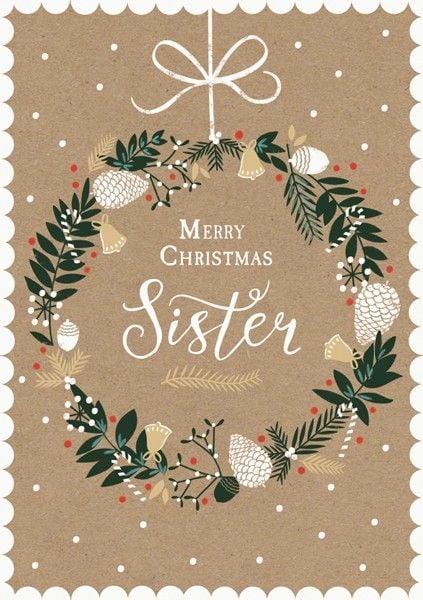 Merry Christmas Sister.Sister Christmas Cards Merry Christmas Sister Xmas Card For Sister Gold Foil Christmas Card Pretty Wreath Christmas Card Card For Sister