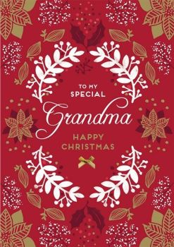 Grandma Christmas Cards - To My SPECIAL Grandma - CHRISTMAS Cards For GRANDPARENTS - HAPPY CHRISTMAS Card - EMBELLISHED Christmas CARD - Traditional
