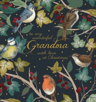 Grandma Christmas Card - Wonderful GRANDMA Christmas CARD - With LOVE at CHRISTMAS - Christmas Card For GRANDMA - BIRDS & BERRIES Christmas CARD