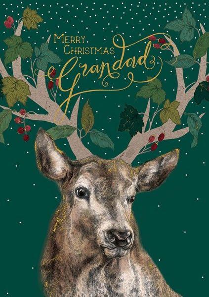 Grandad Christmas Cards - MERRY Christmas GRANDAD - Stag CHRISTMAS Cards -