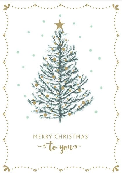 Foil Christmas Tree.Christmas Tree Card Merry Christmas To You Luxury Gold Foil Christmas Card Christmas Card For Neighbour Friend Work Colleague Boss