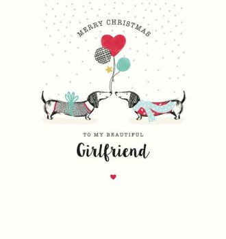 Girlfriend Christmas Cards - To MY BEAUTIFUL Girlfriend - MERRY Christmas CARD For GIRLFRIEND - Cute PUPPY Xmas CARD - EMBELLISHED Christmas CARD