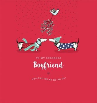 Boyfriend Christmas Cards - YOU Had Me At HO HO HO - To My GORGEOUS Boyfriend - MISTLETOE Xmas CARD For BOYFRIEND - Christmas Cards FOR HIM