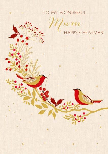 Mum Christmas Cards - TO MY WONDERFUL Mum - Happy CHRISTMAS - ROBIN Christm