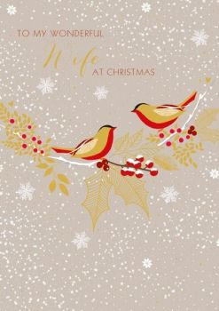 Wife Christmas Cards - TO My WONDERFUL Wife - Christmas CARDS - HOLLY Berry & BIRDS Xmas CARD - FAMILY Christmas CARDS - Wonderful WIFE Card