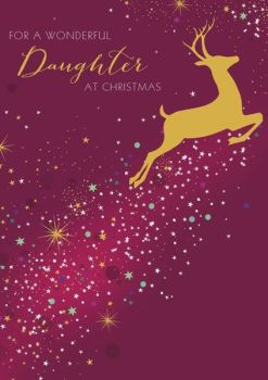 Daughter Christmas Cards - FOR A Wonderful DAUGHTER - GOLD Reindeer CHRISTMAS Card - Christmas CARDS For DAUGHTER - Wonderful DAUGHTER Card