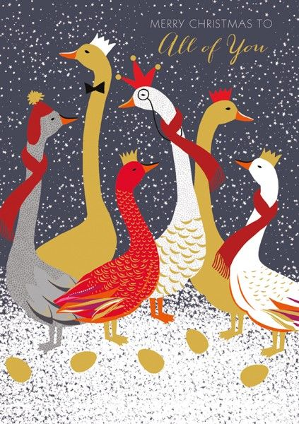 Goose Christmas Card - MERRY CHRISTMAS To ALL Of YOU - Winter GEESE Christm