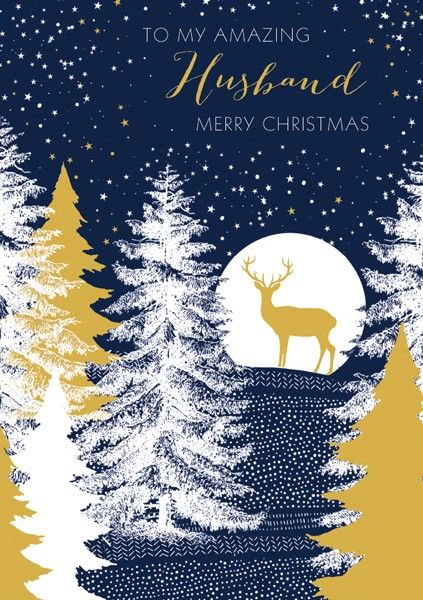 Husband Christmas Cards.Husband Christmas Cards To My Amazing Husband Deer In Moonlight Christmas Card Merry Christmas Wishes Christmas Card For Husband