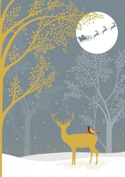 Christmas Cards - DEER Christmas CARDS - Deer In THE Woods CHRISTMAS Card - GOLD Foil CHRISTMAS Card For GRAN - Grandparents - FRIEND - Family