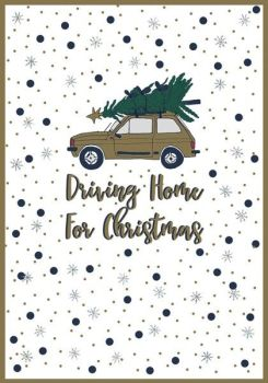 Driving Home for Christmas Cards - DRIVING Home For CHRISTMAS - Sparkly CHRISTMAS Card - CHRISTMAS Card For FRIEND - Girlfriend - Parents