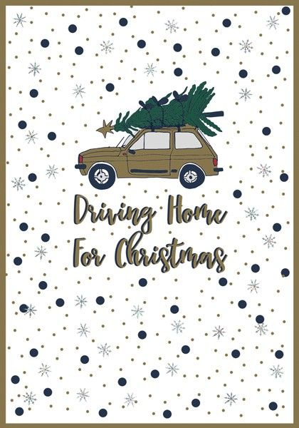 Driving Home for Christmas Cards - DRIVING Home For CHRISTMAS - Sparkly CHR