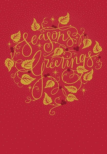 Seasons Greetings Cards - TRADITIONAL Style Christmas CARDS - RED & GOLD Ch