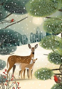 Christmas Deer Cards - DEER Christmas CARDS - Christmas GREETING Cards - CHRISTMAS Snow Scene - Traditional CHRISTMAS Cards For NAN - Gran
