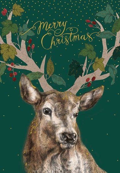 Merry Christmas Card - MERRY Christmas CARD Wishes - Stag CHRISTMAS Card -
