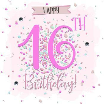 16th Birthday Card  Girl- HAPPY 16th Birthday - SWEET 16 Birthday CARD - CARD For DAUGHTER - Granddaughter - SISTER - Niece