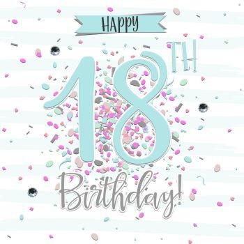 18th Birthday Card  Girl- HAPPY 18th Birthday - PRETTY Blue 18th Birthday CARD - CARD For DAUGHTER - Granddaughter - SISTER - Niece
