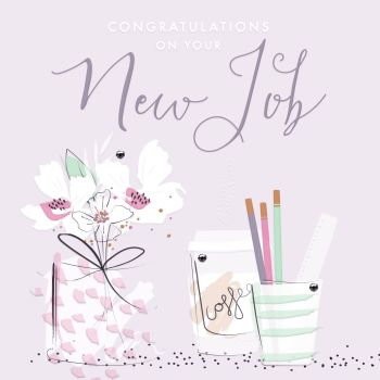New Job Cards - CONGRATULATIONS Card - Congratulations ON Your New JOB - PRETTY New JOB Card FOR Friend - Work COLLEAGUE - New JOB Card For FEMALE