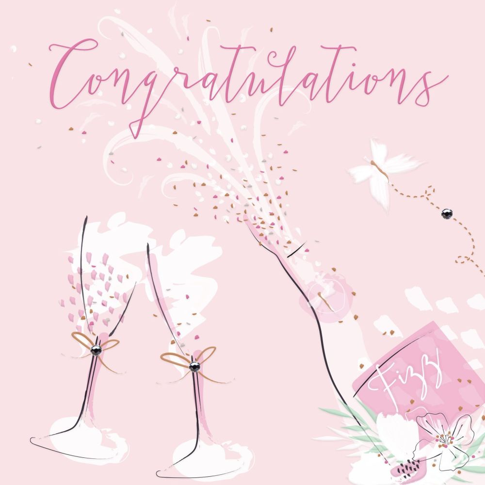 Champagne Flutes Congratulations Card - CONGRATULATIONS - EMBELLISHED Champ