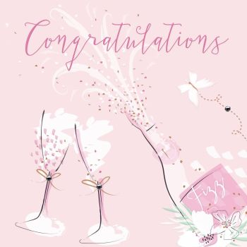 Champagne Flutes Congratulations Card - CONGRATULATIONS - EMBELLISHED Champagne Greeting CARD For HER - Congratulations CARD For NEW Job - PROMOTION