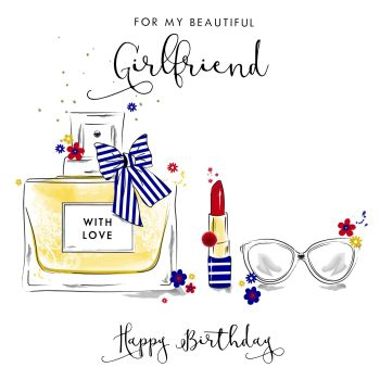 Beautiful Girlfriend Birthday Cards - HAPPY BIRTHDAY - POM POM Embellished BIRTHDAY Card - SPECIAL Birthday CARDS  For GIRLFRIEND