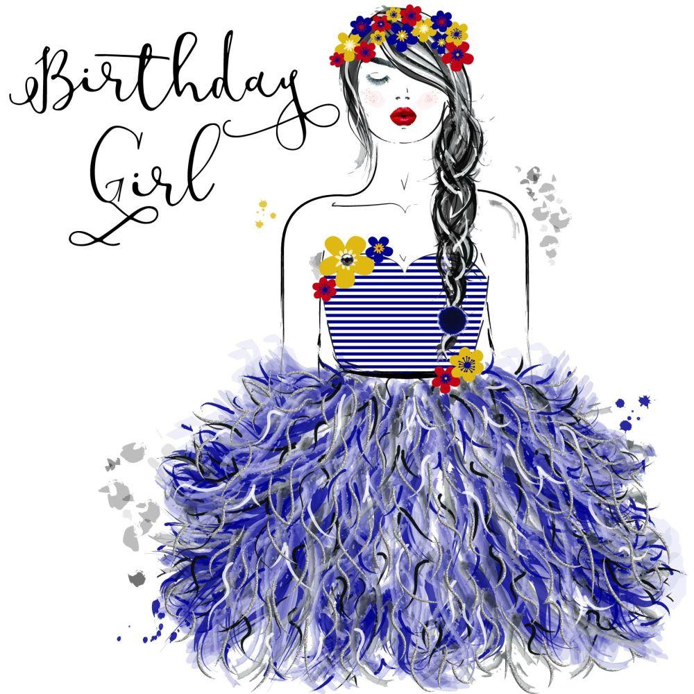 Birthday Card - BIRTHDAY Girl - Birthday Greeting CARD - PRETTY Birthday CA