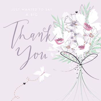Thank You Cards - FLORAL Thank You Card - THANK You CARD Flower BOUQUET - JUST Wanted To SAY - Thank You Card - Thank YOU To Friend - MUM - BRIDESMAID
