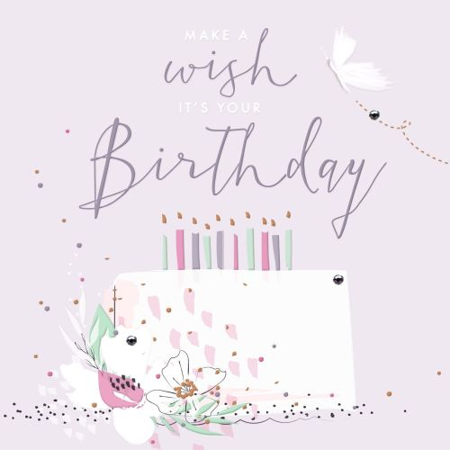 Birthday Card - MAKE A Wish IT'S Your BIRTHDAY - PRETTY Birthday CARD -  BIRTHDAY Cake CARD - Birthday CARD For DAUGHTER - Granddaughter - Sister