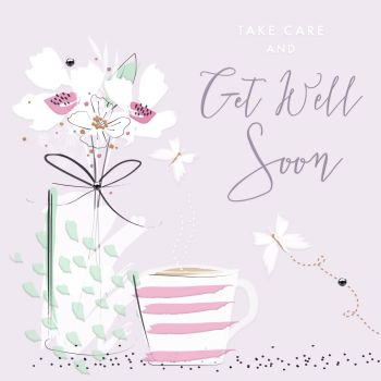 Female Get Well Card - TAKE Care & Get WELL Soon - Get WELL Wishes - PRETTY Floral Get WELL Card